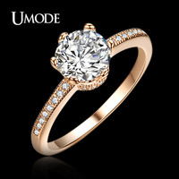 UMODE crown design Rose Gold Color Classic round Cubic Zirconia Engagement Finger Rings JR0121A