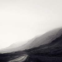 Iceland Landscape, Mountains and Road in Fog, Minimal Black and White Photography, Travel, Rural, Nordic, Mysterious - Less Traveled