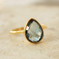 Gold Blue Topaz Ring Teardrop Shape Stacking Ring by OhKuol
