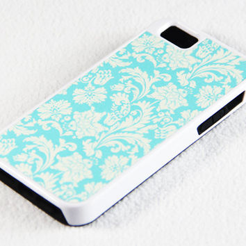 Vibrant damask Blue and White iPhone 5 + 4S + 4 + 5C + 5S Tough Rubber and Soft Case, iPod 5 + 4 Case