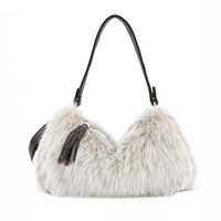 New Winter PU + Artificial Cony Wool Handbag Ladies Tassel Shoulder Bag Faux Fur Women Leather Handbag Plush Cony Hair Clutch