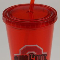 Ohio State University OSU 16oz Tumbler Travel Cup Lid Straw Red Licensed Product