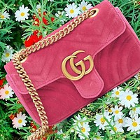 GUCCI Bag Velvet Bag Wave pattern Sewing thread Bag Pink