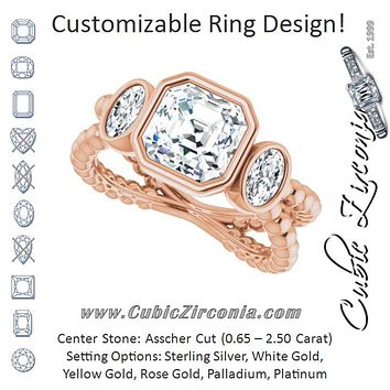 Cubic Zirconia Engagement Ring- The a'Malisa (Customizable 3-stone Asscher Cut Design with 2 Oval Cut Side Stones and Wide, Bubble-Bead Split-Band)
