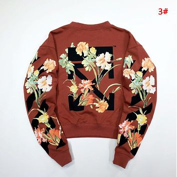 Off White Autumn And Winter New Fashion Letter Leaf Floral Arrow Print Women Men Long Sleeve Top Sweater 3#