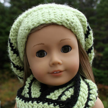 light fern green and black stripe crochet slouch hat with infinity scarf, 18 inch doll clothes, American girl Maplelea