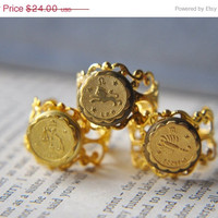 BLACK FRIDAY Zodiac Rings - You Pick Your Sign - Cosmic Jewelry - Vintage Locket Ring - Astrological Sign - Gifts under 25