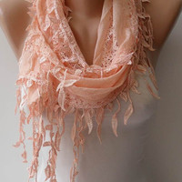 New Scarf - Gift - Trendy Scarf -  Lace  Scarf - Lace Scarf in Light Salmon with Salmon Trim Edge