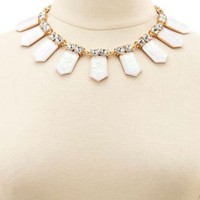 Rhinestone & Open Statement Necklace by Charlotte Russe - Gold