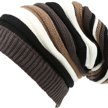 Sakkas Ceelo Long Tall Slouchy Unisex Striped Ribbed Kint Adjustable Beanie Hat