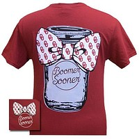 New Oklahoma Boomer Sooners Mason Jar Big Bow Girlie Bright T Shirt