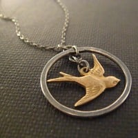 Sparrow Necklace - Hunger Games - Silver and Brass Pendant