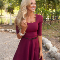 Plain Backless Flare Dress With Belt