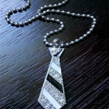 Black & Silver Tie Necklace -- Sassy Deal