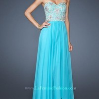 Blue Sweetheart Chiffon Appliqued Prom Dress with Zipper Style YFAM197,2014 Prom Dresses