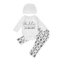 "Unisex ""Hello I'm New Here"" Bodysuit, Hat & Pant Set"