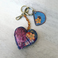 Personalized keychain with blue suede leather initial and tartan sequin heart, monogrammed keychain