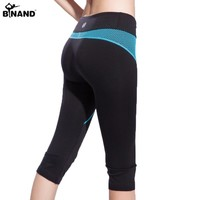 Binand New Arrival Capris Yoga Pants Quick Dry and Breathable Breeches Knee-length Sports Shorts w Mesh