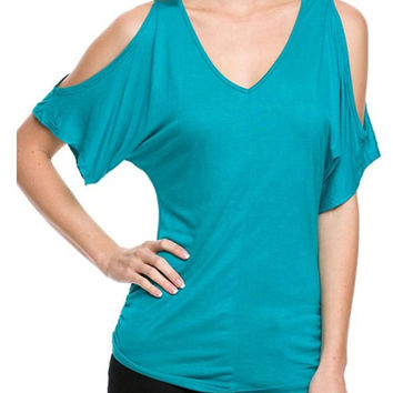 Cold Shoulder V-Neck Top