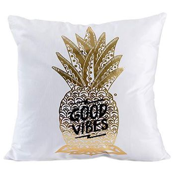 """Golden Pineapple Decorative Throw Pillow Covers 18""""x18"""" Flannel Cute Pillow Cases Euro Shams Pillow Covers Tropical Cushion Covers"""