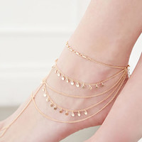 Layered Circle-Charmed Foot Chain