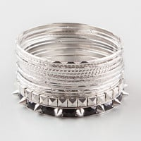 Full Tilt 14 Piece Spiked Bangle Set Silver One Size For Women 24825314001