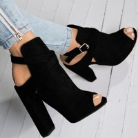 Open Toe Booties with Buckle Strap