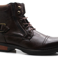 Men's Military Style Boots Ankle High Lace Up Zipper Cap Toe - Monroe