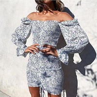 Trendy Square Neck Floral Print Dress Women Long Sleeve Bodycon Mini Dress Beach Dress For Clothing
