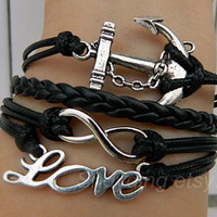 Black wax rope bracelet, ancient silver anchor, infinite hope, love bracelet