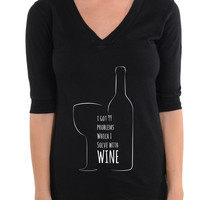 I GOT 99 PROBLEMS WHICH I SOLVE WITH WINE - Football V-Neck Tee