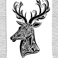 Tribal Deer Stag Fabric Wall Art Tapestry