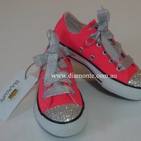 Neon Pink Converse Shoes Featuring Clear Swarovski Crystals COO1