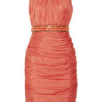 Carmen Marc Valvo Ruched silk dress - 60% Off Now at THE OUTNET