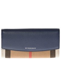 Burberry Women's House Check and Leather Continental Wallet Blue
