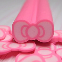 Big Polymer Clay Cane Pink Bow or Large Bowtie for decoden crafts miniature foods and dessert scrapbooking decoration and nail art