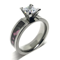 Pink Camo Titanium Camouflage Wedding Engagement Ring Cubic Zirconia