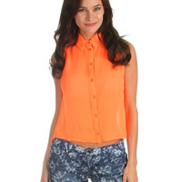 Orange Sleeveless Button Up Top With Split Back