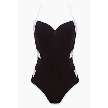 Color Block Low Back Infinity Criss Cross Straps One Piece Swimsuit - Black & White