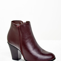 FAUX LEATHER STACKED HEEL ANKLE BOOT - REDLINE