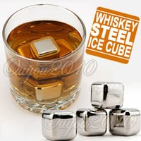 Stainless Steel Ice Cubes Cool Glacier Rock Neat Drink Freezer gel
