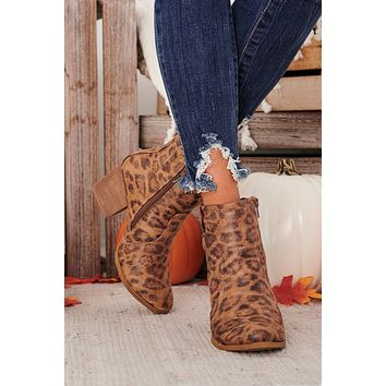Ready To Roll Leopard Print Booties (Tan)
