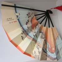 Paper Fan Signature Japanese Mountain Asian Red Tassel