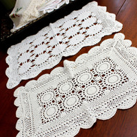 2 Tray Cloth Doilies, Vintage Crochet Doilies,  Crocheted Placemats 12351
