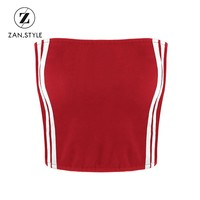 ZAN.STYLE Summer Stripe Tube Top Sleeveless Vest Color Patchwork Women Crop Top Sexy Strapless Bandeau Top Cropped Feminino Red