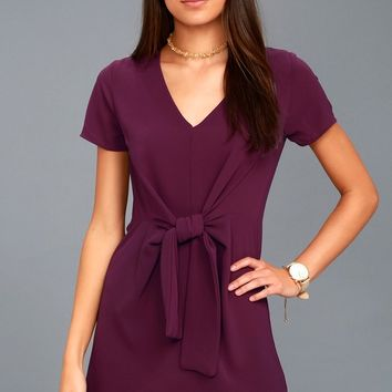 Belong to the City Plum Purple Knotted Shift Dress