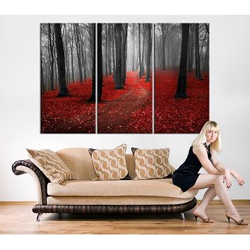 Large Art Print Dark Forest Red Forest Large Wall Art Print Extra Large 3 Panel Art Canvas Print