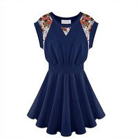 Womens Graceful Sleeveless Cotton Skirt Ruffle Tops Crew Neck Clubwear Onepiece Short Dress