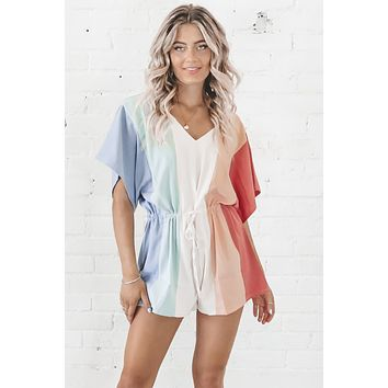 Just Block It Out Striped Color Block Romper