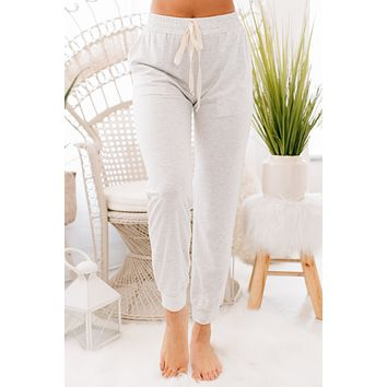 Time to Nap Hi-Rise Joggers (Light Grey)